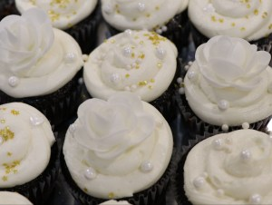 All white cupcakes.
