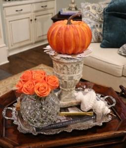 roses and pumpkins make pretty decorations