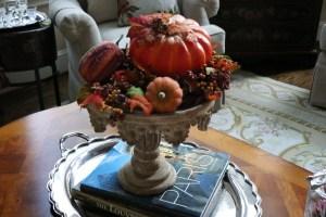 Pumpkins arranged on a pedestal.