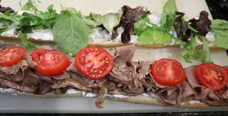 Open faced beef and blue cheese sandwich