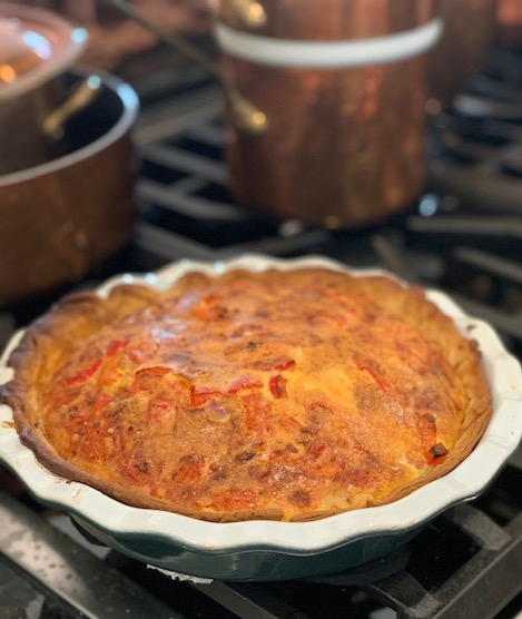 Quiche Lorraine with red peppers