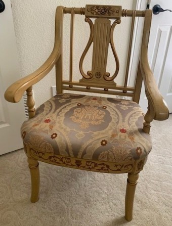 old chair with harp back