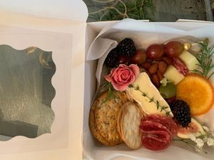 small appetizer box with cheese and meats