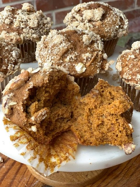 Homemade Pumpkin Muffin recipe baked and ready for fall.