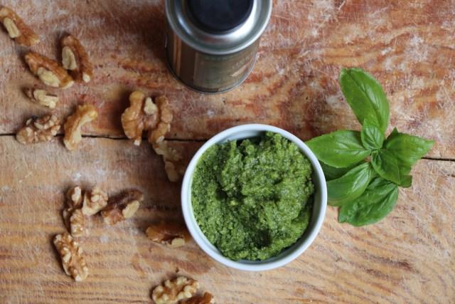 Fresh pesto for Caprese Panini Recipe and Ideas for a Spring Menu