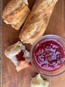 Fresh Strawberry Jam recipe with bread and butter