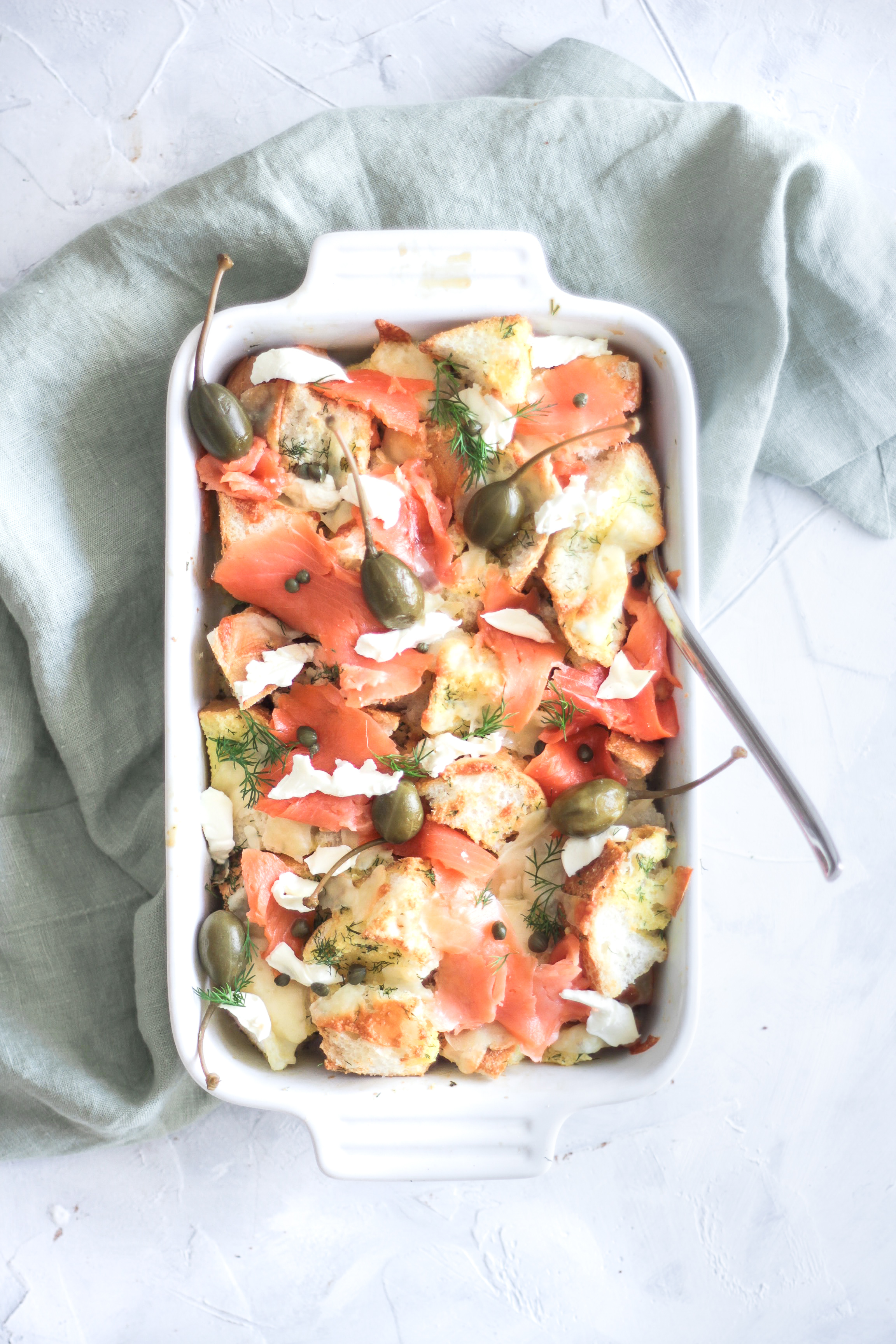 Savory Smoked Salmon and Caper Bread Pudding