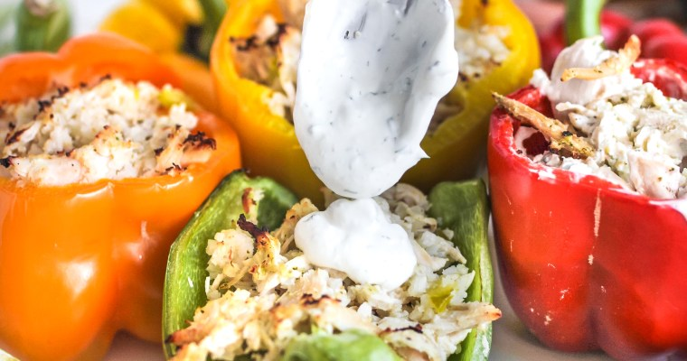 Cauliflower Rice and Ranch Chicken Stuffed Bell Peppers