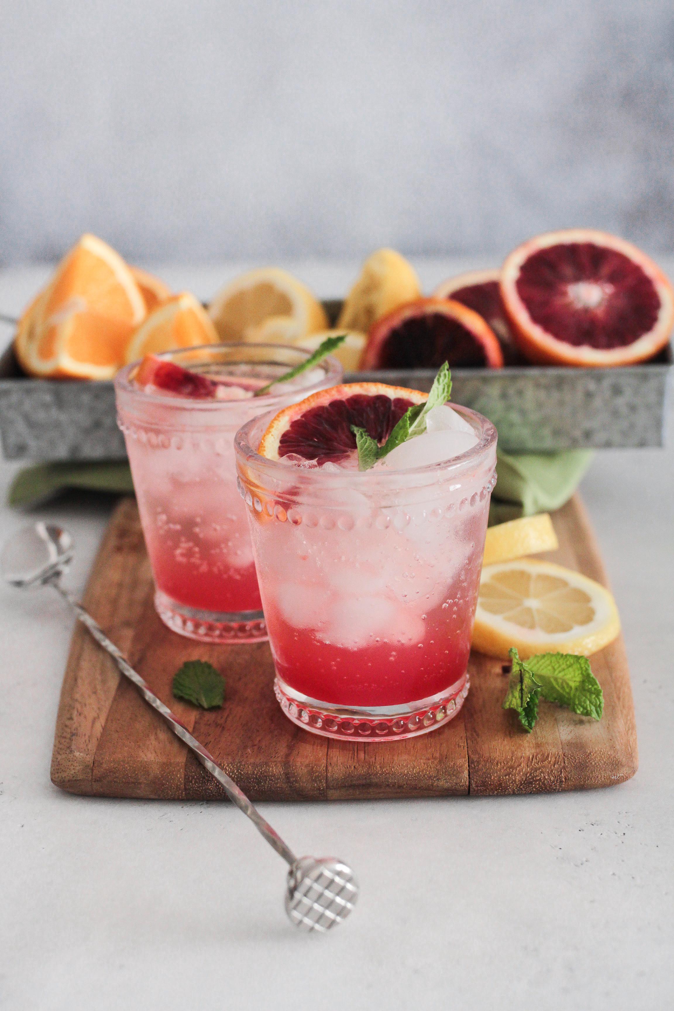 Blood Orange Vodka Soda Cocktail