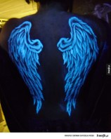 14 UV visible tattoo wings on back