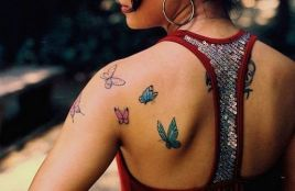 Shoulder butterfly tattoo designs 5
