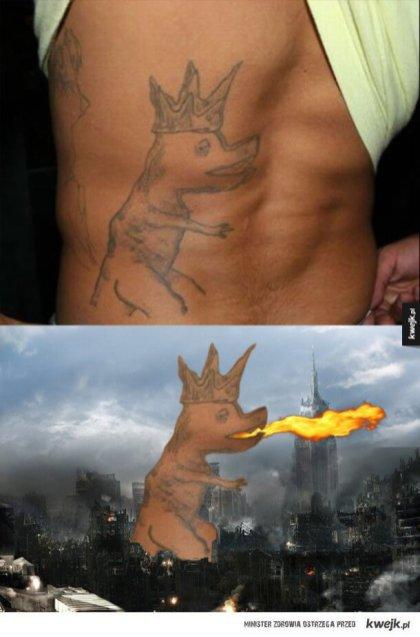 Ugly Gozilla tattoo