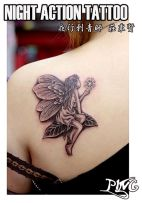 A lone fairy tattoo on an upper arm https://pl.pinterest.com/pin/287667494927546456/
