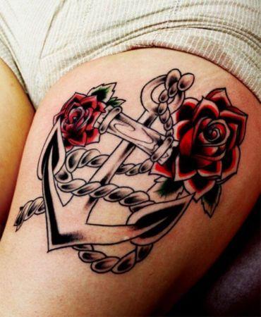 Dark anchor tattoo thigh http://www.cuded.com/2013/12/55-thigh-tattoo-ideas/