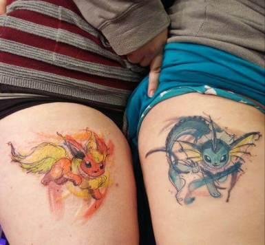 Flareon and Vaporeon pokemon tattoo designs