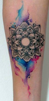 Amazing watercolor mandala tattoo. https://pl.pinterest.com/pin/532832199650028259/