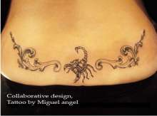 © Miguel Angel, Bobby Tatt. A wonderful collaborative lower back tattoo design of scorpion and pattern is designed by two artist Miguel Angel and Bobby. https://www.gettattoosideas.com/lower-back-tattoos/