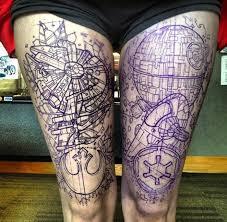 Star Wars Death Star and Millennium Falcon Tattoo http://45.55.196.102/star-wars-death-star-and-millennium-falcon-tattoos/