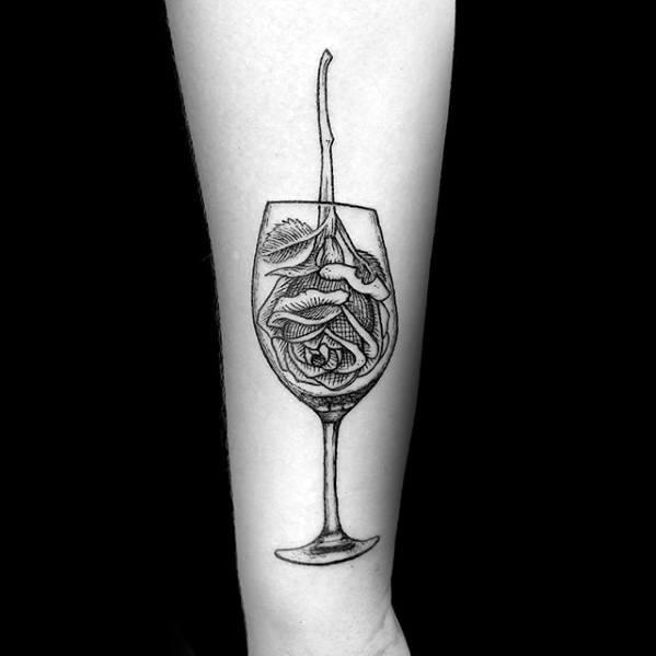Forearm rose flower wine tattoo designs