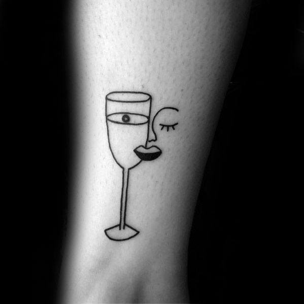 Pablo Picasso wine glass face tattoo ideas