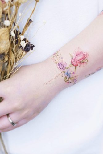 Red rose delicate armband wrist tattoos