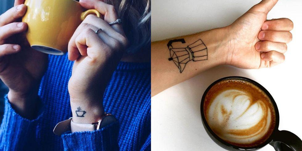 Wrist coffee cup tattoo ideas