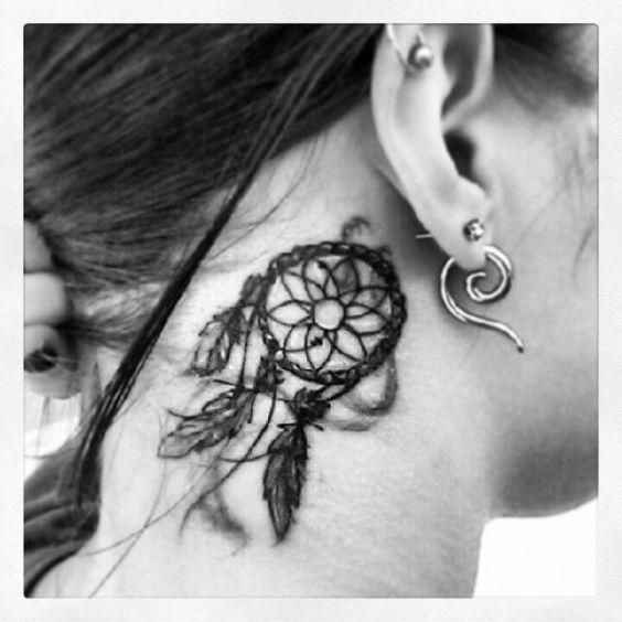 Mind blowing dream catcher tattoo behind ear