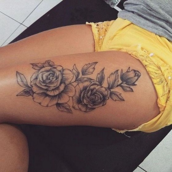 Most eye catching thigh tattoo design for women