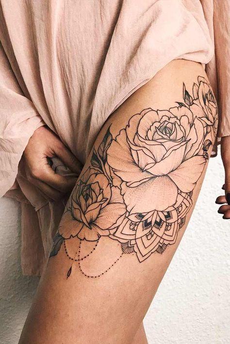 Ideas tattoo rose on women leg