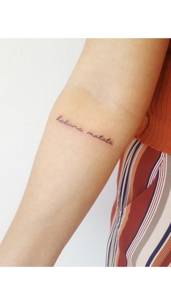 No worries tattoo on arm for women
