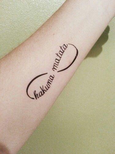 The sign of infinity and hakuna matata tattoo