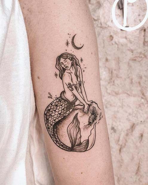 Magical mermaid tattoos for women ideas