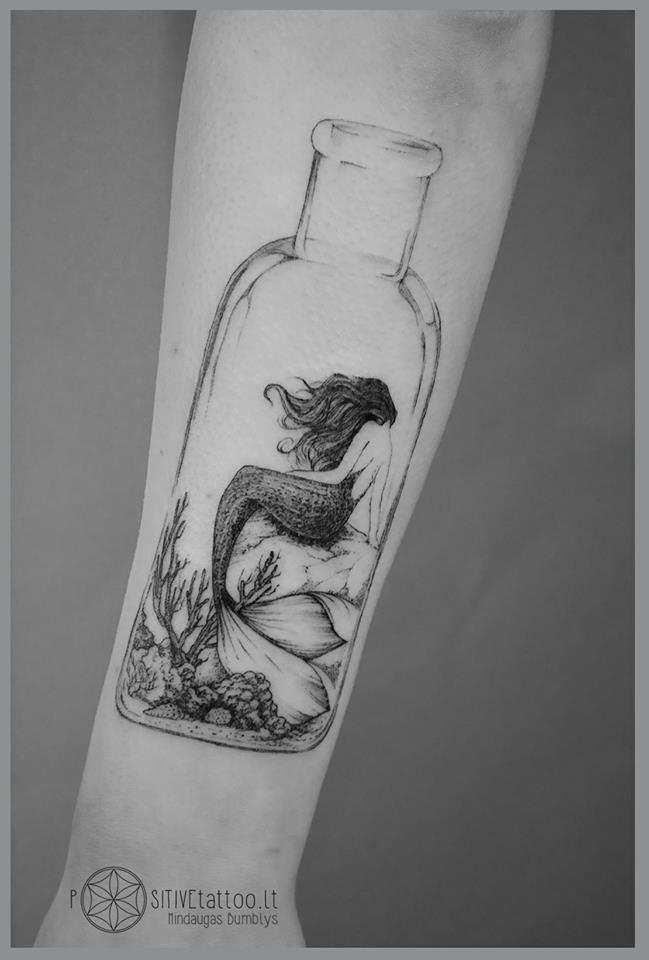 Mermaid in a bottle tattoo on arm ideas