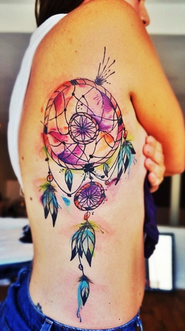 Most colorful dream catcher tattoo on side