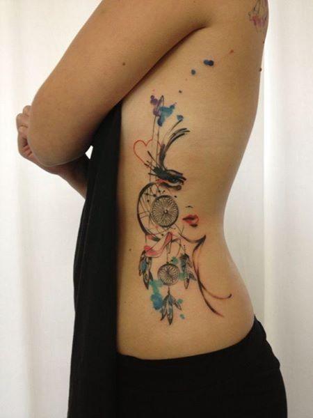 Super flowers tattoo ribs dream catcher for girl