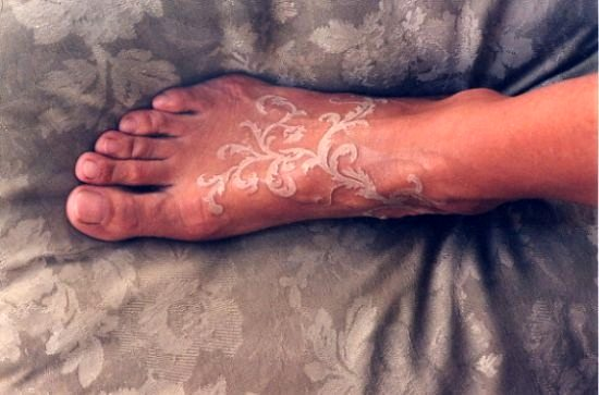 Makes it magical white ink tattoo on leg
