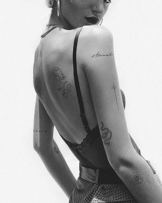 Simple line tattoo on rib