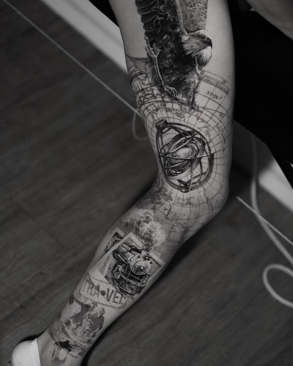 Full leg tattoo for travel lover