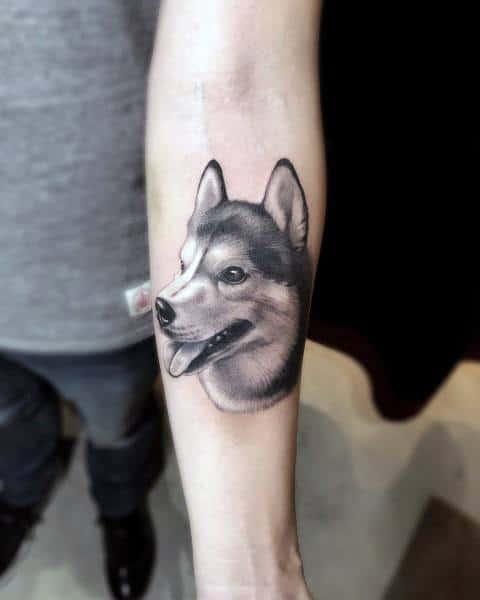 Siberian husky tattoo
