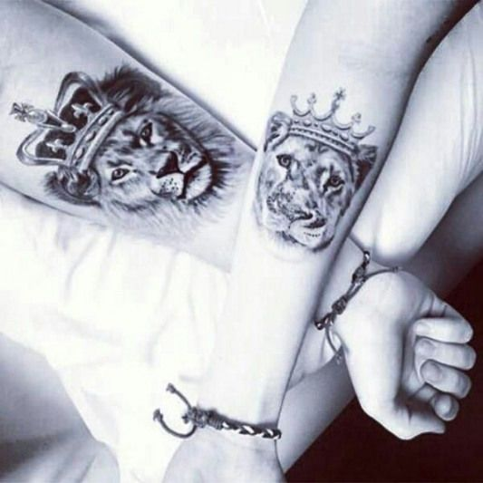 The lions couple tattoo on forearm