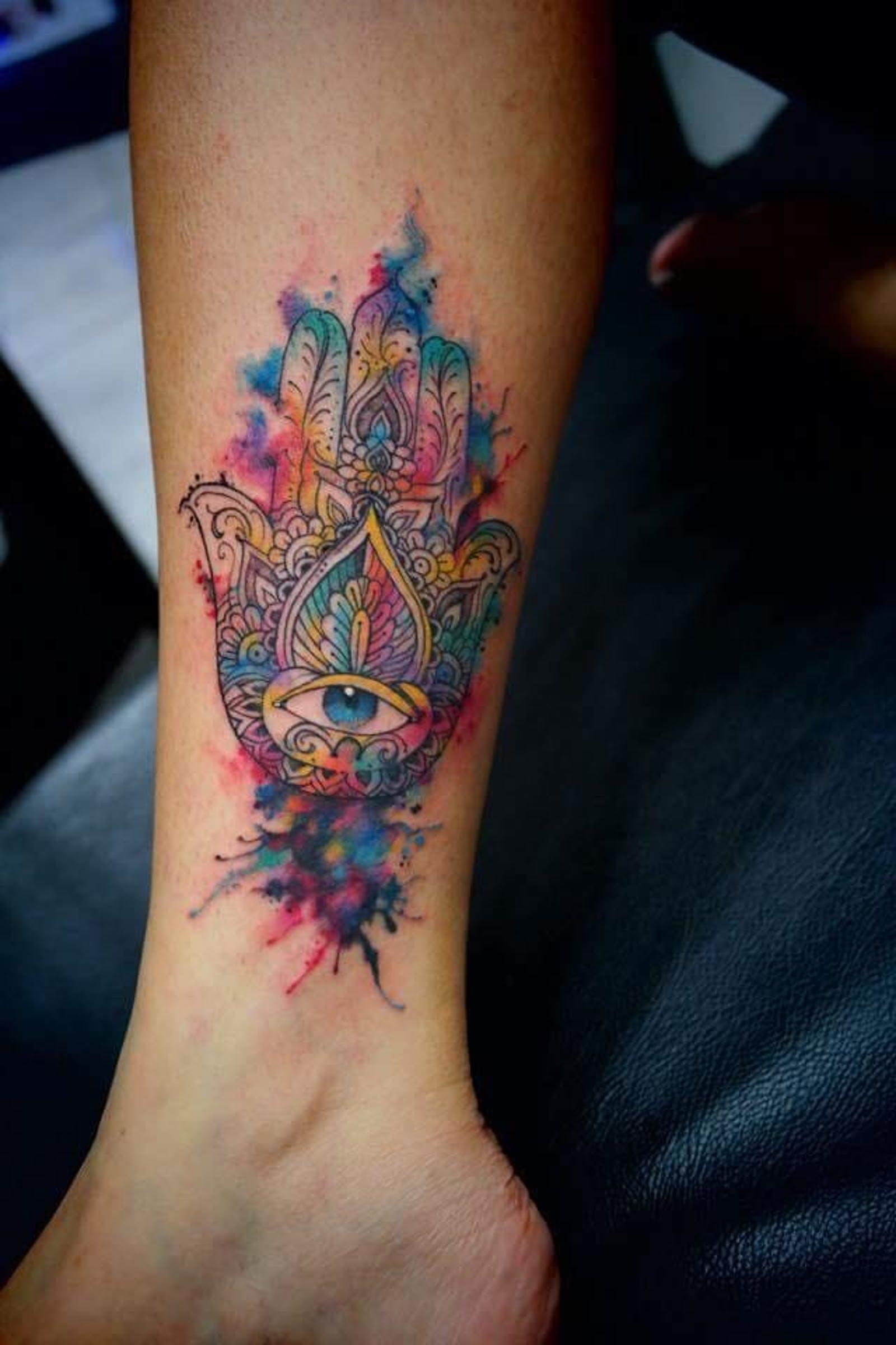Colorful hamsa tattoo ideas