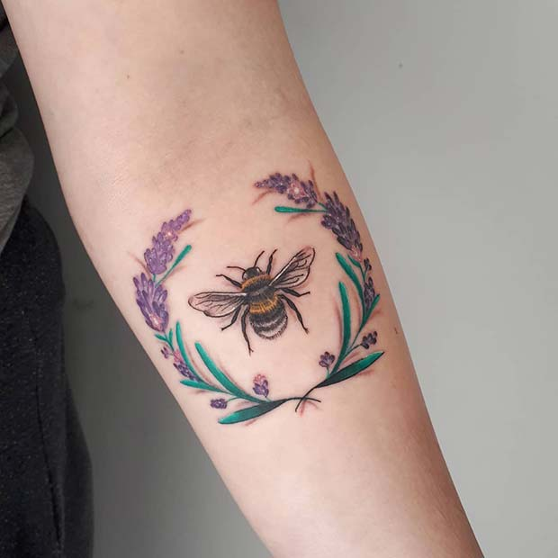 Lavender wreath and a bee tattoo