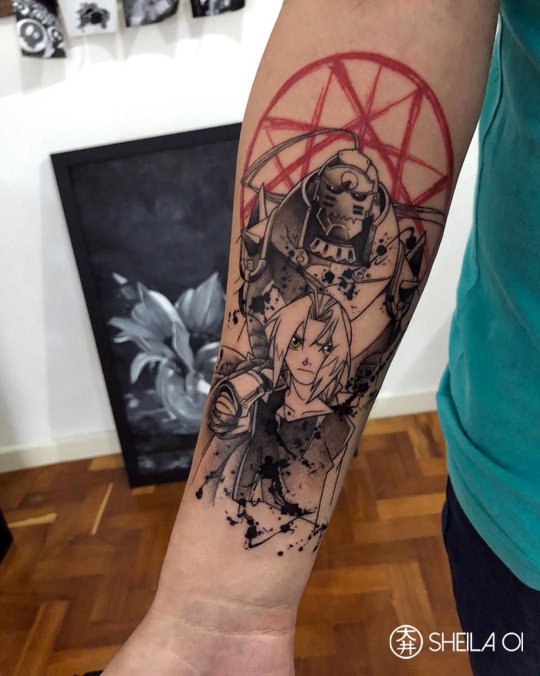 Anime tattoo on arm