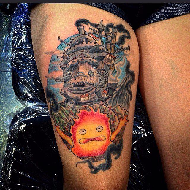 Howl's Moving Castle tattoo on leg