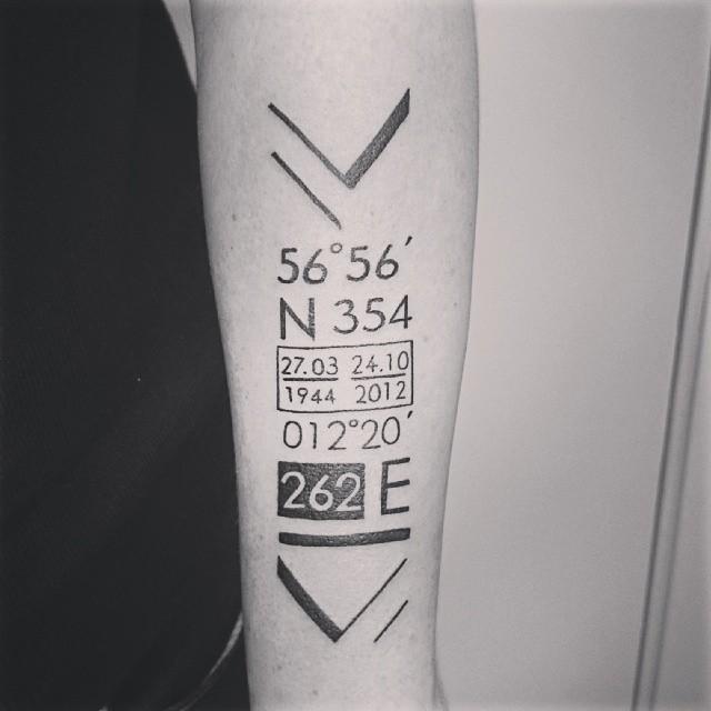 Big coordinate numbers tattoo