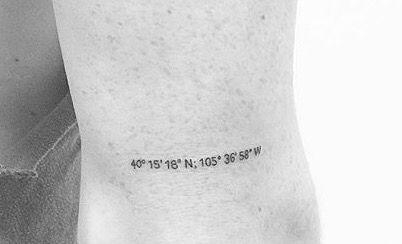 Coordinates number on arm tattoo
