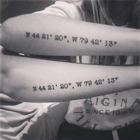 Sister coordinate tattoos