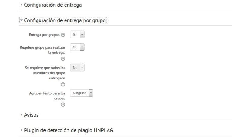 Pantallazo del aula virtual para establecer en la actividad la configuración de entrega por grupo.
