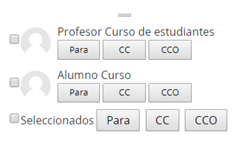 Selección de usuarios