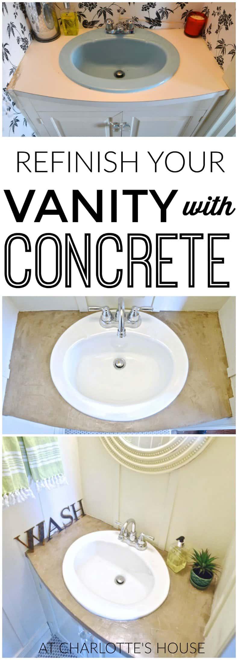refinished concrete vanity top